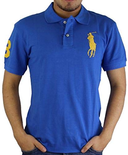 Ralph Lauren Herren Polo blau, Big Pony gelb (XL)