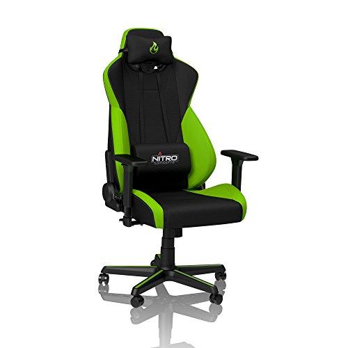 NITRO CONCEPTS S300 Gamingstuhl - Ergonomischer Bürostuhl - Schreibtischstuhl - Chefsessel Bürostuhl - Pc Stuhl - Gaming Sessel - Stoffbezug - Belastbarkeit 135 kg - Atomic Green (Grün)