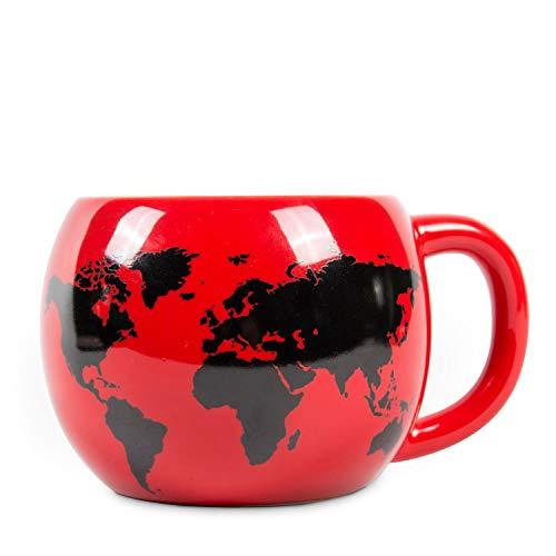el & groove Tazza Globo 3D Tazza Globo in Rosso, Tazza da tè 250 ml, Tazza da caffè in Porcellana, Mappa del Mondo Atlante delle destinazioni Worldmap Atlas, Tazza Deco, Regalo Natale Natale