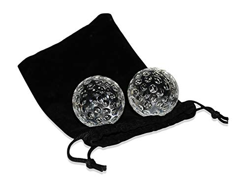 Golf Ball Whiskey Chillers & Pouch | Golf Gift Set | Glass Whiskey Stones for Chilling Vodka, Whiskey & Scotch | By Jem Glass