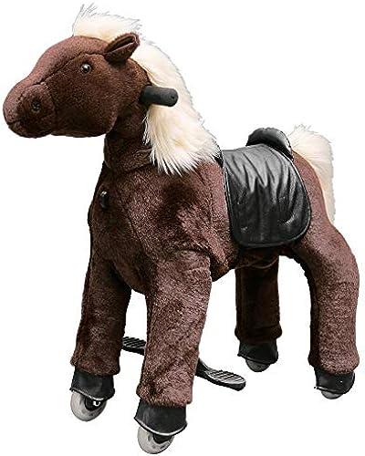 Eurotondisplay Reitpony auf Rollen Rollpferd Plüschpferd Antrieb durch Reitbewegung Small 3-5 Jahre (Schokolade S-7 Weiß M e & Schwanz)