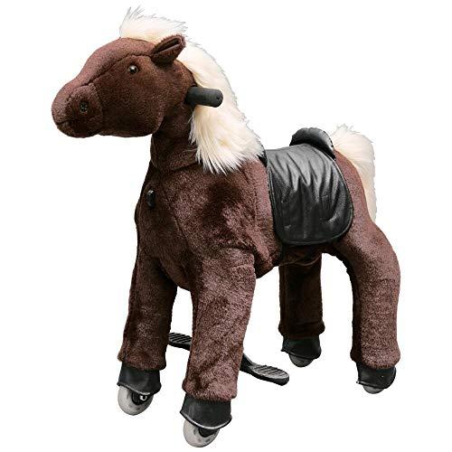 Eurohandisplay Reitpony auf Rollen Reitpferd beweglich Rollpferd Plüschpferd fahrendes Pony Small 3-5 Jahre Medium 5-8 Jahre Large 8-99 Jahre (Schokolade S-7 weiße Mähne & Schwanz)