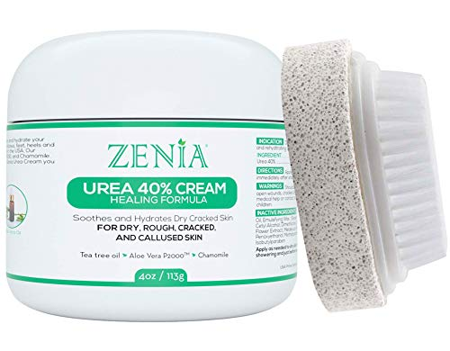 Zenia Urea 40% Cream Healing Formula 4oz - #1 Callus Treatment - Hydrate and Moisturize Dry, Rough, Cracked & Callused Skin - For Feet, Elbows, Hands, Knees - Free Pumice Stone & Brush