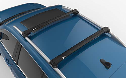 Juego de barras portaequipajes para Dacia Duster SUV (2014-2017), aluminio, Turtle, soporte de barra longitudinal, antirrobo, color negro
