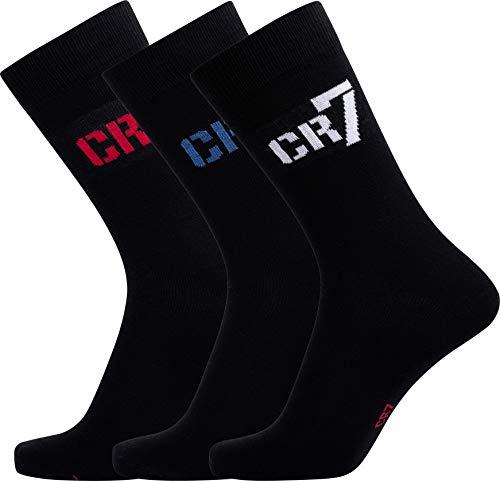 CR7 Cristiano Ronaldo Socken Jungen (3er Pack) Sportswear Socks, hohe Belastbarkeit & Langlebigkeit durch extra Lange Baumwollfasern (Schnelltrocknend), Schwarz, 40-43
