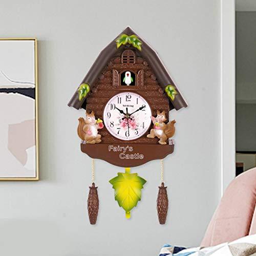 Reloj de pared para niños de madera antigua, reloj de cuco, campana de tiempo, reloj de alarma de columpio, arte de pared artesanal, casa; fácil de aprender el tiempo del profesor