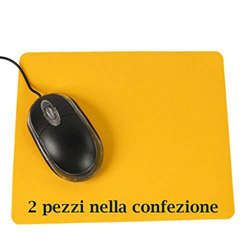 Tech Stor3 2 Tappetini Mouse Antiscivolo per Computer da Ufficio in Tinta Unita con Base Antiscivolo, 20,5 x 15,7 cm, Aderente e Liscio, Adatta ad Ogni Mouse, Tastiera e Laptop