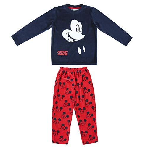 Disney Mickey Mouse Pijama para Niños, Pijama de Invierno Acogedor, Pijama 2 Piezas de Terciopelo y Algodón Súper Suave, Regalo para Niños, 2 a 6 Años (5 Años)