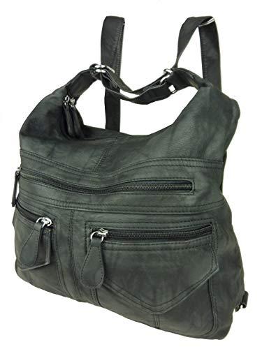 Rucksacktasche I 2in1 Damen Rucksack und Handtasche in Einem I Schultertasche einfarbig Uni und Batik I Damen-Tasche sportlich & leger (schwarz)