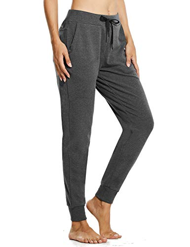BALEAF Women's Winter Fleece Lined Joggers Thermal Sweatpants Warm Cotton Lounge Athletic Pocketed Track Pants Charcoal M