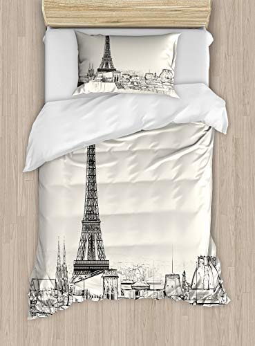 ABAKUHAUS stad van de Liefde Dekbedovertrekset, Parijs over de daken House, Decoratieve 2-delige Bedset met 1 siersloop, 130 cm x 200 cm, Eggshell en Black