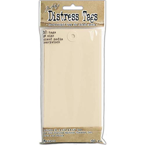Ranger Mixed Media 8 Tags (20 Pack), Papier, Beige, 16 x 8 x 1.7 cm