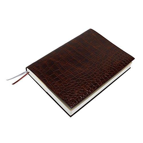 お手入れいらずのほぼ日手帳カズン対応A5サイズ リサイクルレザーカバースピンしおりひも付き (クロコ型押しブラウン)