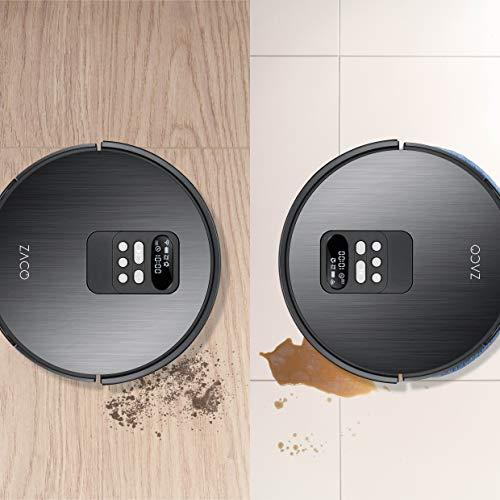 ZACO V85 Saugroboter mit Wischfunktion, App & Alexa Steuerung, 8cm flach, automatischer Staubsauger Roboter, 2in1 Wischen oder Staubsaugen, für Hartböden, Fallschutz, mit Ladestation - 2