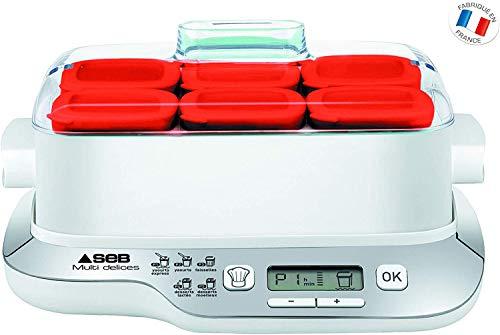 Seb Compact Joghurtbereiter Multidélices 6 Töpfe, Weiß/Metall 6 Töpfe, rot rot/weiß
