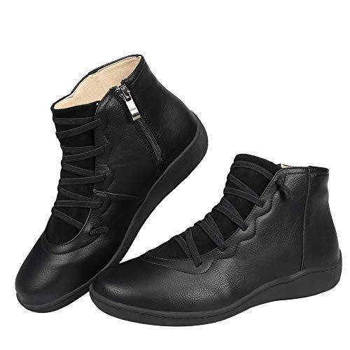 DUOYANGJIASHA Women's Ankle Boots Leather Zipper Comfort Waterproof Shoes Platform Lace up Wedge Booties Outdoor Black