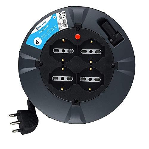 Electraline 49019 Prolunga Elettrica con Avvolgicavo, 3G 1 mm, Lunghezza 4 m, 4 Prese Bivalenti, Spina 16 A, Nero