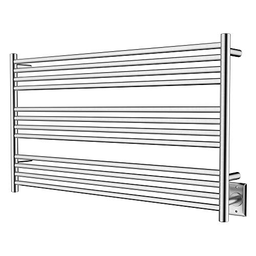 HEATGENE Towel Warmer 12 Bar Towel Dryer Wall-Mounted Plug-in Bath Towel Heater - Brushed