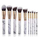 CloverGorge Portable Marble Makeup Brush Set Beauty Tools Makeup Brush Artificial Fiber, White