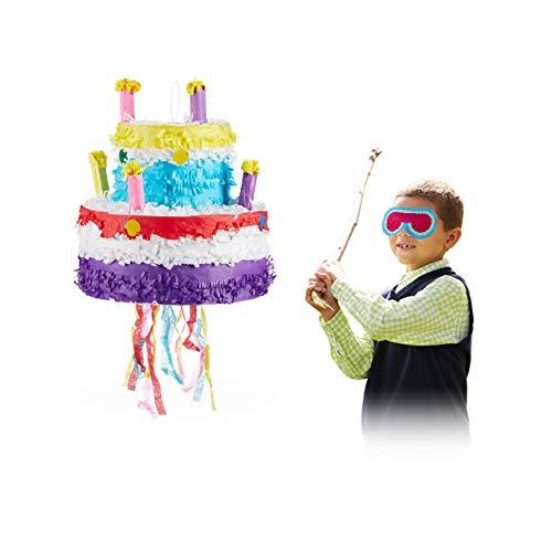 Relaxdays 10025184 Pinata Geburtstag Torte, zum Aufhängen, für Kinder, Mädchen, zum selbst Befüllen, aus Papier, Piñata, bunt