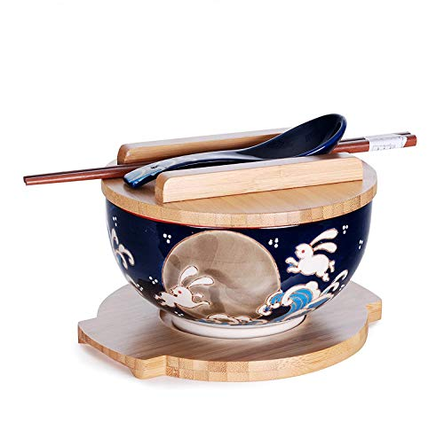Happy Sales, Japanese Kamameshi Vintage Style Rice Noodle Ramen Bowl with Bamboo Lid Trivet...