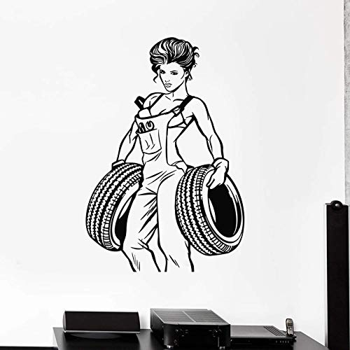 Sexy Girl Pegatinas De Pared Servicio De Reparación De Ruedas De Coche Puertas Y Ventanas Pegatinas De Vinilo Garaje Tienda De Coches Decoración Interior Papel Pintado Creativo 57X82Cm