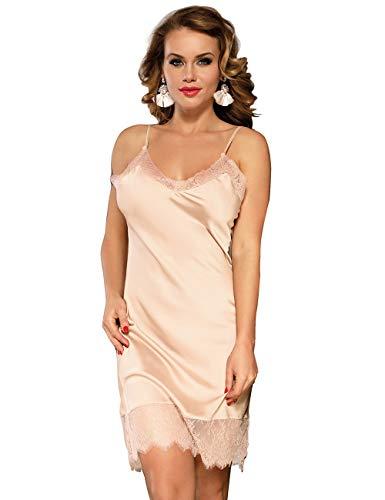 ohyeahgirl Babydoll damska seksowna satynowa bielizna nocna, duże rozmiary, koszula nocna, krótka, bez rękawów, jednoczęściowa bielizna