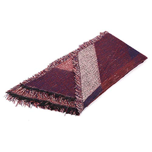 W-Fight – Cobertor feminino de pashmina, grande, grande, grande, de blocos de cores, xadrez, listrado, franja, xale, capa, poncho de malha quente para o inverno para caminhadas na praia