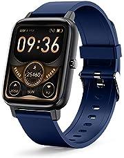 Smart Watch, LAMA 1,7 inch touchscreen smartwatch fitness tracker met hartslagmeter, waterdicht IP68 fitness tracker horloge stappenteller stopwatch, smart watch voor mannen vrouwen voor Android iOS blauw