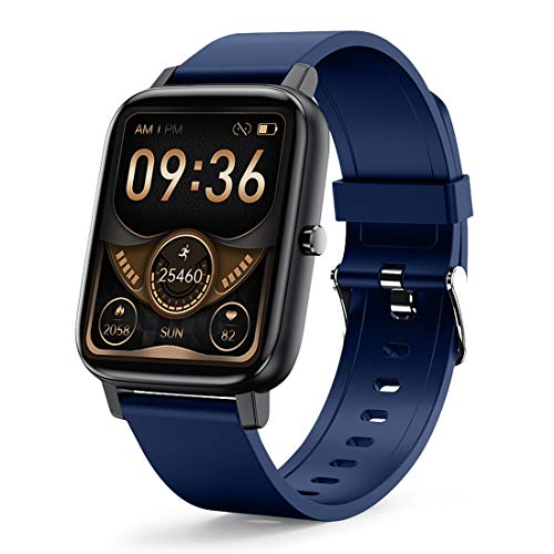 Smart Watch, LAMA 1.69' Touch Screen Smartwatch, Fitness Trackers With Heart Rate Monitor, Waterproof IP68 Fitness Tracker Watch Pedometer Stopwatch, Smart Watch for Men Women for Android iOS Blue