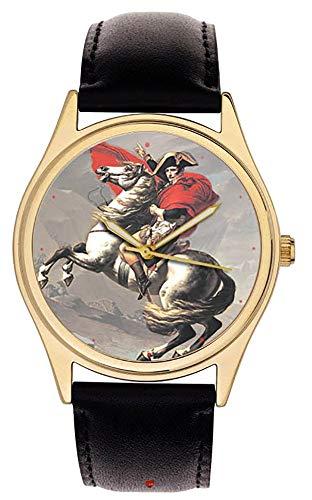 Napoleón Bonaparte en su caballo. Hermoso reloj de pulsera de colección de arte francés de latón macizo.