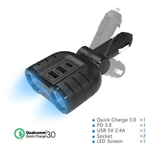 Rytaki KFZ Ladegerät 48W USB Auto Ladegerät 120W Zigarettenanzünder 12V/24V KFZ Ladegerät Schnellladegerät Quick Charge Steckdose mit 18W PD 3.0 18W QC 3.0 12W USB 2.0 2 Zigarettenanzünder Verteiler
