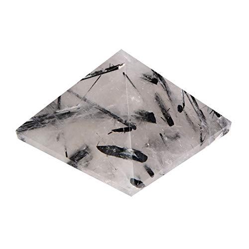 Ymiko Pirámide de Cristal Natural Turmalina Negra Natural, Torre de energía curativa/Pirámide de Cristal curativo para protección y energía Positiva/Cuarzo Natural para Regalo de decoración del hogar
