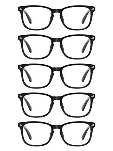 CCVOO 5 Pack Reading Glasses Blue Light Blocking, Filter UV Ray/Glare Computer Readers Fashion Nerd Eyeglasses Women/Men (Light Black, 2.0)