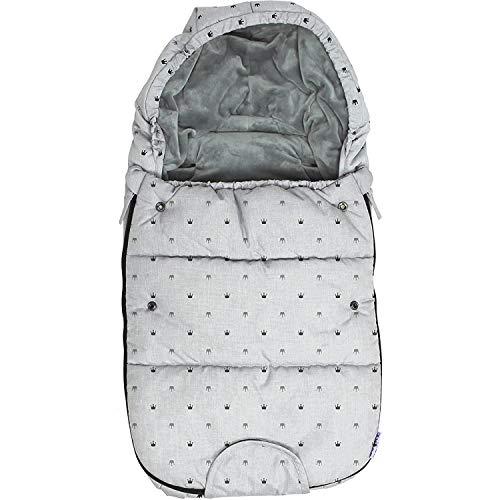 Original Dooky Footmuff Crowns Small Baby Fußsack für Kinderwagen & Maxi Cosi, 0 bis 9 Monate, 70 x 40 cm, winterfest, wasserdicht & winddicht, geeignet für 3- und 5-Punkt-Gurte, hell grau