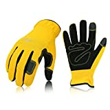 Vgo 1 Pair Multi-Purpose Synthetic Work Gloves, Gardening Construction Builder Driver Gloves (Size S, Yellow, NB7581)