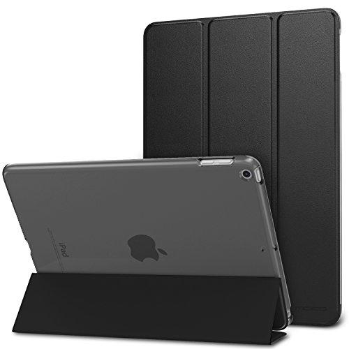 MoKo Hülle Kompatibel für iPad 9.7 2017/2018, 5./6. Generation - PU Leder Tasche Schutzhülle Schale Smart Hülle mit Transluzent Rücken Deckel Auto Schlaf/Wach Stanfunktion, Schwarz
