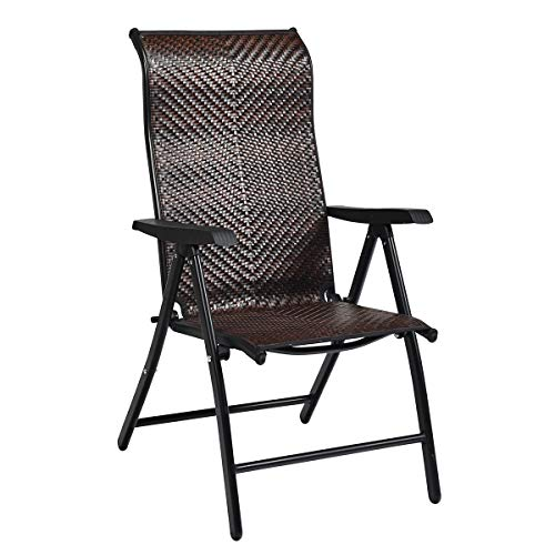Tangkula Patio Rattan Folding Chair, Outdoor Wicker Portable Camping Chair with Widened Armrest, Foldable Chair with High Backrest for Garden Balcony Outdoor & Indoor (1)