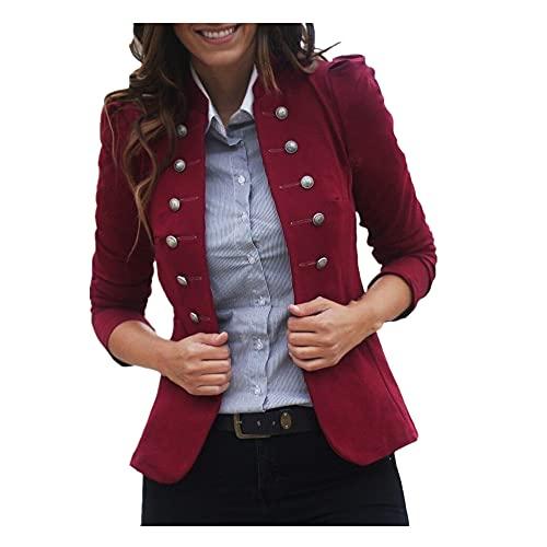 Chaqueta corta para mujer con botón de traje de manga larga