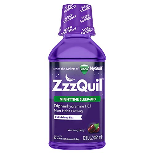 ZzzQuil Nighttime Sleep Aid Liquid, 12 fl oz, Warming Berry Flavor