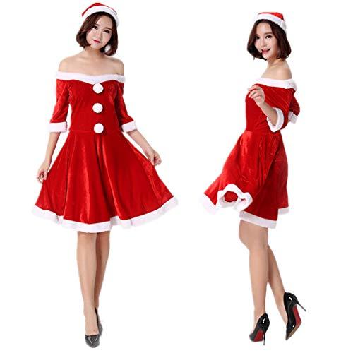XL- Dames Kleding Kerstman Rode Kerst Jurk, Claus Kostuum Party Cosplay Outfit Fancy Jurk Set H