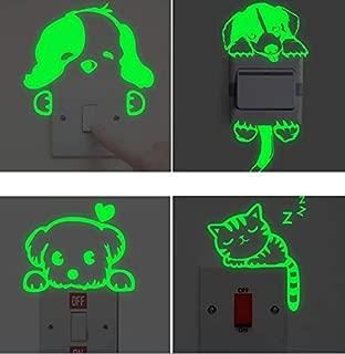 POPIGIST Pack of 4pcs Luminous Light Switch Decals Decal Glow in The Dark Cartoon Cat Dog Pattern Wall Stickers Sticker Decor Art Mura Paste