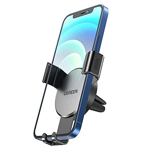 UGREEN Supporto Cellulare da Auto Gravità in Alluminio, Porta Cellulare Auto Bocchette d'Aria, Supporto Smartphone Auto per iPhone 13/12/Mini/Pro Max/11, Galaxy S21/S10, Huawei P40, Grigio