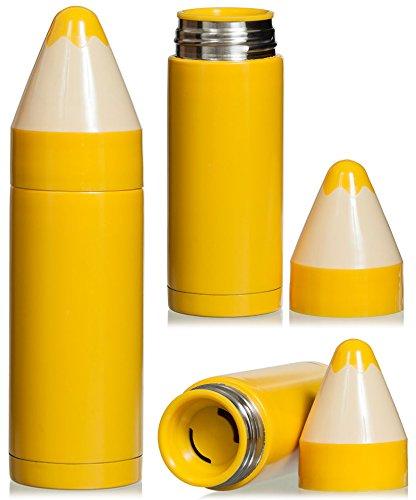 Vakuum Isolierkanne im Bleistift Design - ca. 220 ml, Gelb - Thermo Trinkflasche für kalte und heiße Getränke - Grinscard