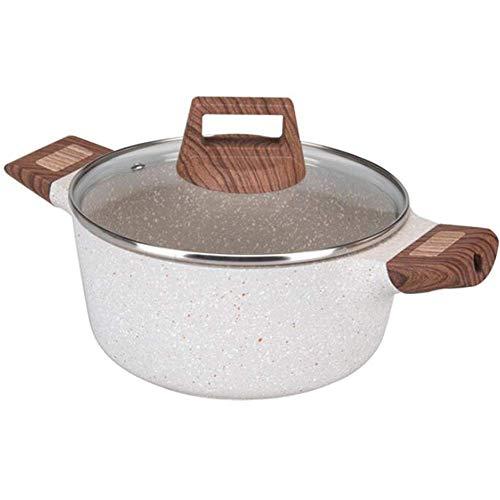 MIEMIE Olla Antiadherente Olla de Piedra Anti escaldaduras con Tapa y Asas de baquelita Cocina de inducción Compatible Gratis a Gas para Sopa Pasta-Beige 28 cm (11 Pulgadas)