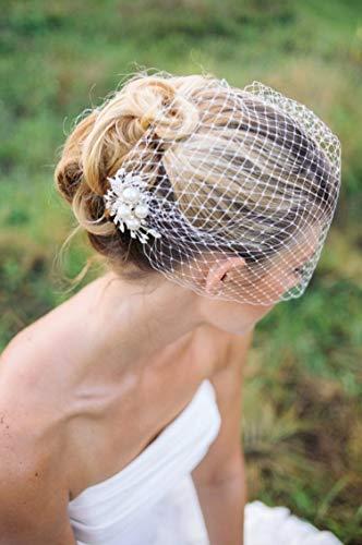 Bridal Birdcage Veil, Wedding Veil, Bridal Hair Comb, Pearls Comb Veil, Pearl Veil Ivory
