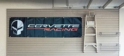 Daoops Corvette Racing Flag Skull Chevy 2X8FT Banner
