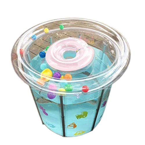 1yess Piscinas inflables Transparentes Redondas, baño del bebé baño Cubo Cubo Plegable Soporte Piscinas Cubiertas de Aislamiento SPA Piscinas (Tamaño: 70 * 70 cm) (Size : 80 * 80cm)