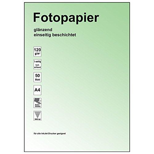 50 Stk. Fotopapier glossy, glänzend, 9600dpi, 120gr/m², für A4 / sofort trocken, exakte Schärfe, hochweisse Oberfläche