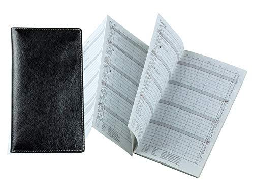 DELMON VARONE - Personalisierbarer Faltkalender 2021 in DIN A6 Anilin Vintage Leder schwarz, Organizer Terminplaner in Lederhülle, Termin Kalender mit Monatsansicht, Einsteckfach und Adressenheft